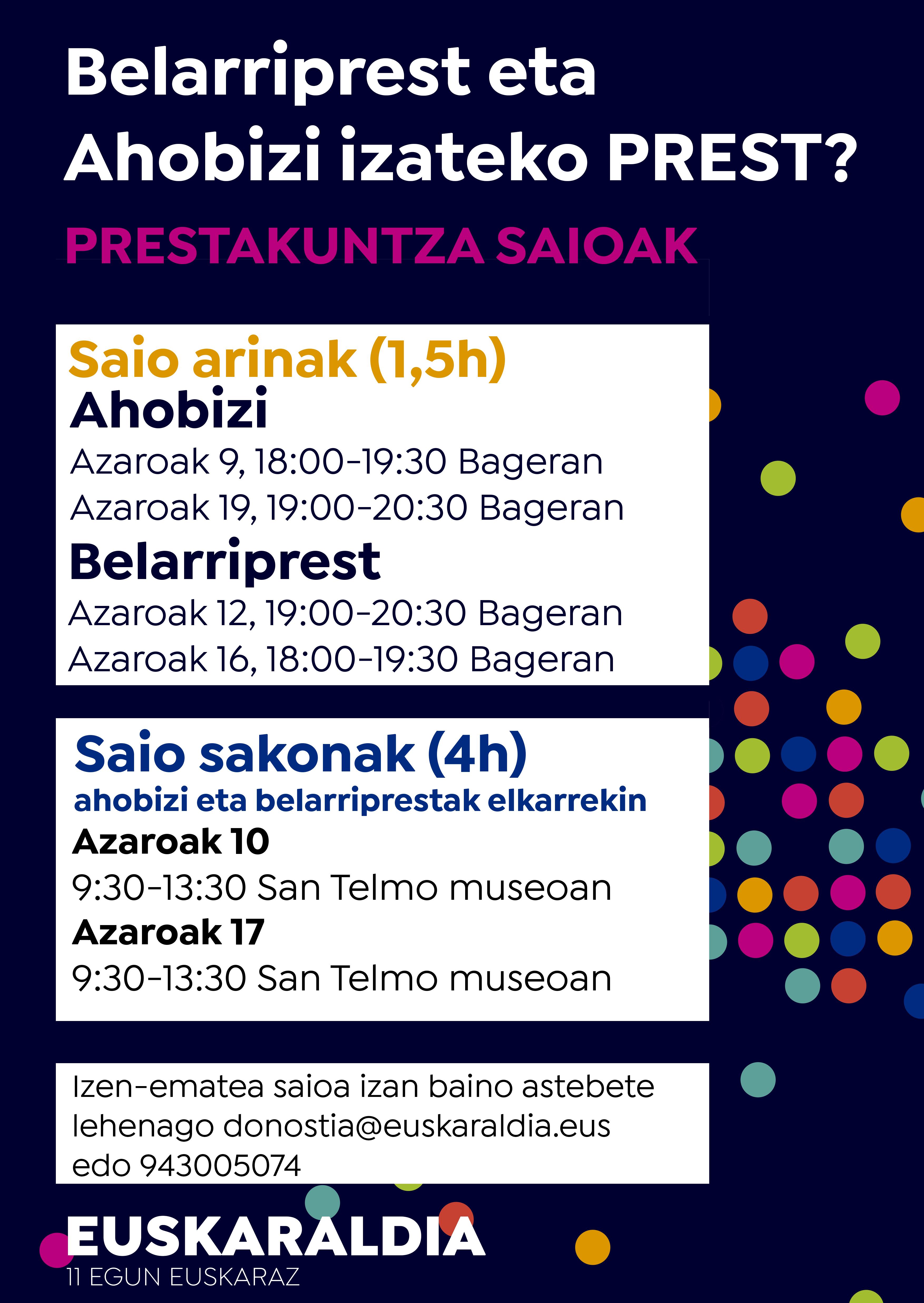 Sesiones formativas para los Ahobizi y Belarriprest